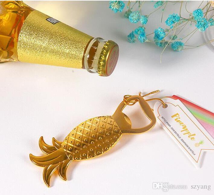 Wedding Favors Gifts Gold Metal Pineapple Beer Bottle Opener Party decoration Supplies Gold Ananas Comosus Bottle Lid Opener+DHL Free