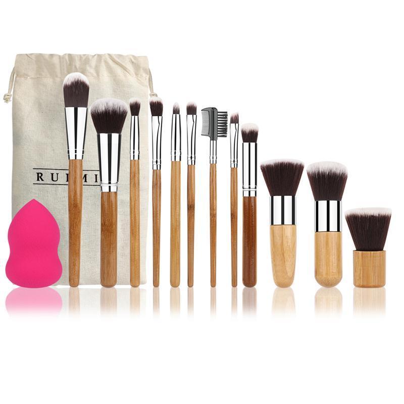 Ruimio 12 pcs Professionnel Poignée En Bambou Fondation Mélange Blush Yeux Visage Maquillage Pinceaux Set +1 Blender Éponge Bouffée