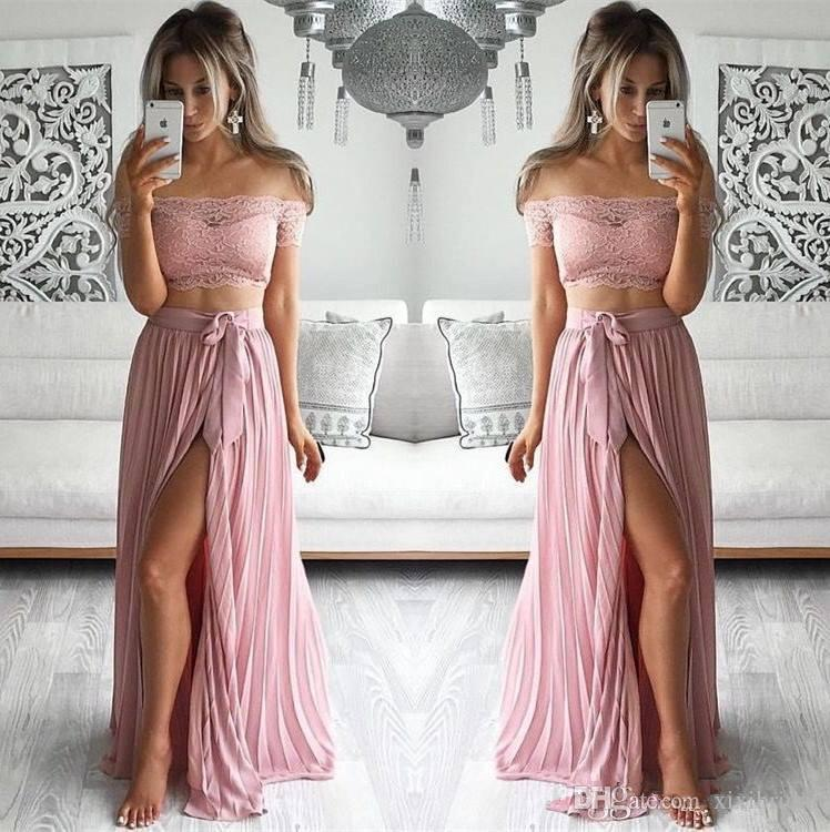 Sexy Pink Two Piece Prom Dresses Long Lace Top Off Shoulder Chiffon Split A Line Formal Party Cheap Gowns