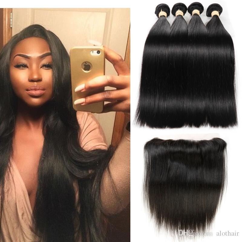 8A Grade Brazilian Virgin Hair Straight 4 Bundles with Lace Frontal Ear to Ear Natural Hairline 13*4 Frontal with Human Hair Weaves 5pcs/Lot