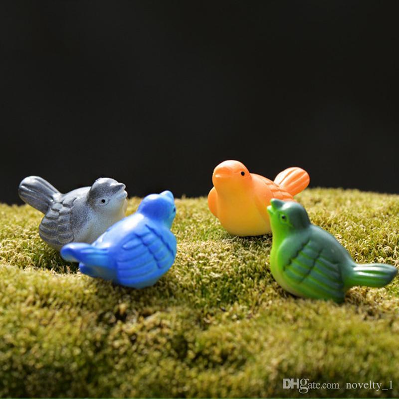 Mini Pássaros Mini Paisagem de Fadas Jardim Decoração Miniaturas Bonsai Terrário Estatuetas Gnomos Arte Resina Artesanato Casa Telhado