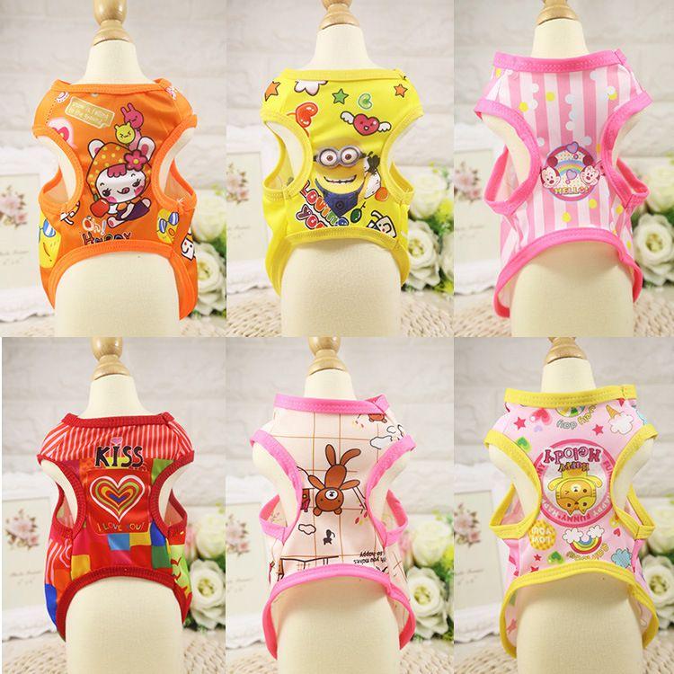 Pet Dog Cartoon T-Shirt Vest Small Doggy Shirt Puppy Shirt T-shirt Cat Shirt New