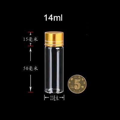 22 * 60 * 14mm 50 stücke 14 ml Leere Glasflaschen Aluminium Schraube Goldene Kappe Transparent Klar Flüssigkeit Geschenk Container Wishing Flasche Gläser