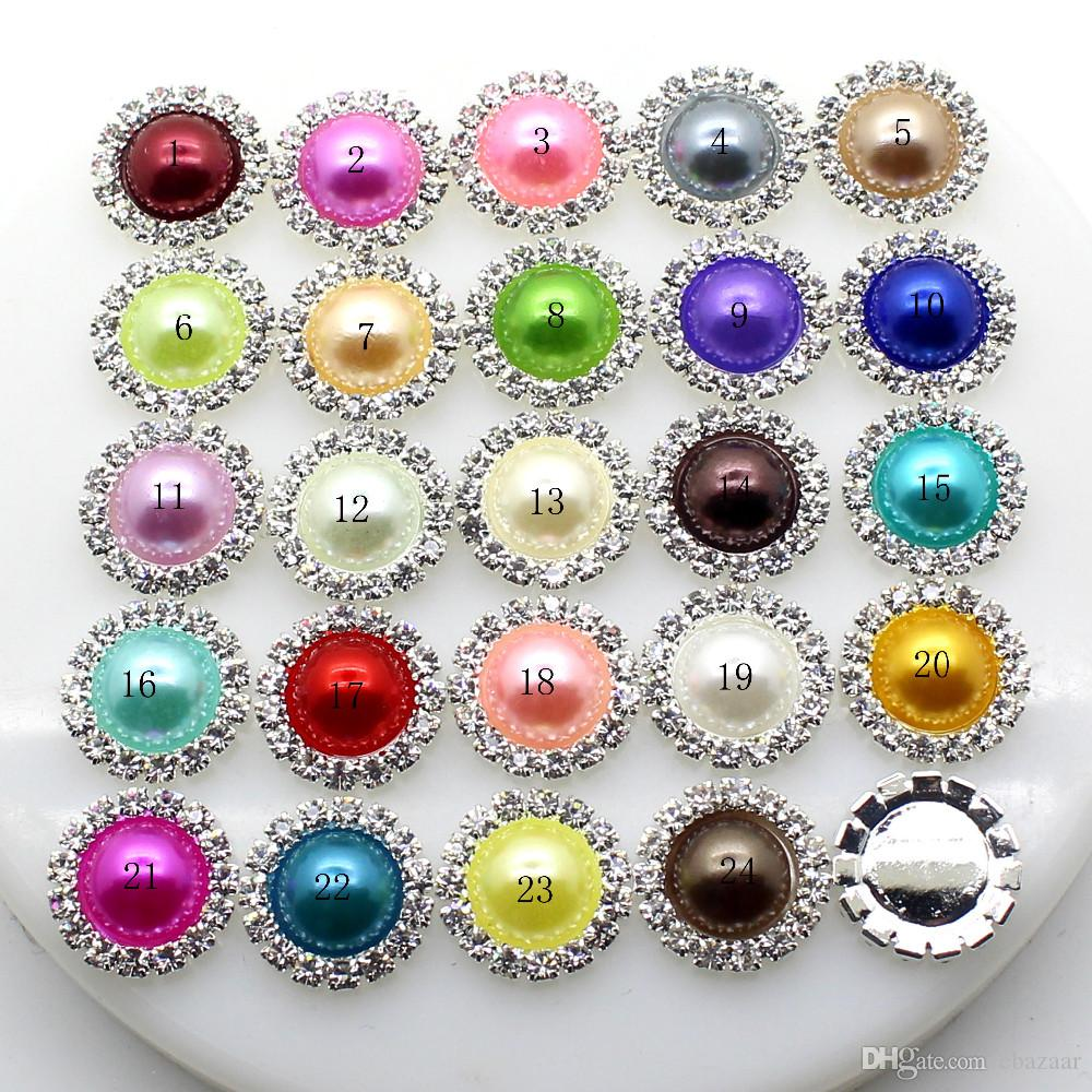 100pcs/lot 15mm Round Metal Crystal Rhinestone Button With Pearl Center Wedding Hair Embellishments DIY Accessory Decoration