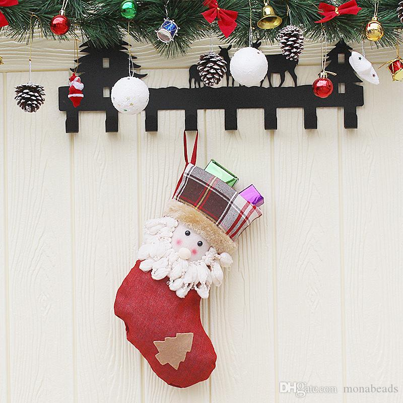 Christmas Decor Creative Wood Hanging Ornaments Christmas Tree Pendant Multicolor Santa Claus Socks