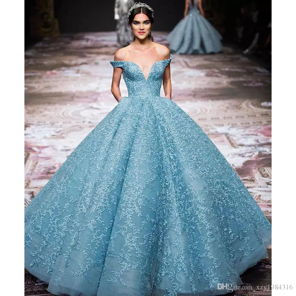 Gorgeous Applique Zuhair-Murad Evening Dress Charming Light Blue Off Shoulder Organza Red Carpet Dress Stunning Special Occasion Formal Dres