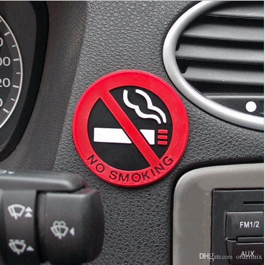 3pcs 고무 NO 금연 기호 경고 로고 스티커 자동차 택시 문 데칼 배지 접착제 스티커 프로모션