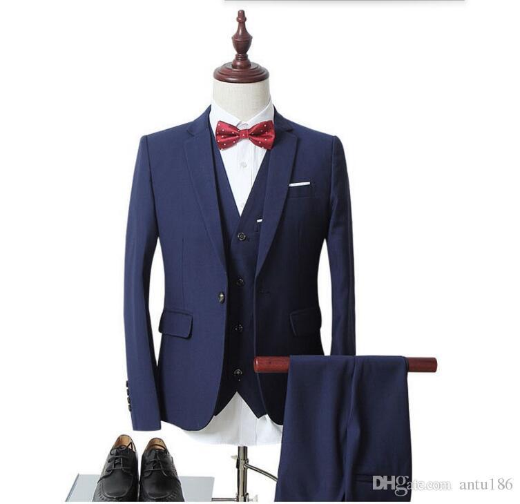 Ismarlama erkek takım elbise erkek beyaz sağdıç düğün takım elbise slim fit iş erkek resmi giyim takım elbise (ceket + yelek + pantolon)