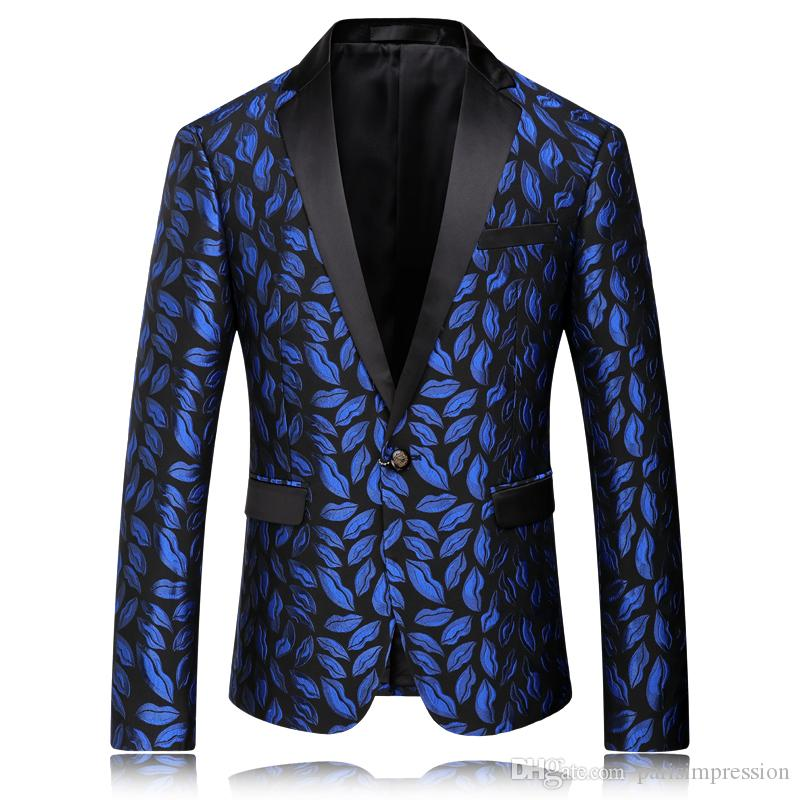 2017 silm fit Blue Best man suit Groom Tuxedos prom Business Floral Wedding dresses Suits Coat Men host Blazer jacket coat