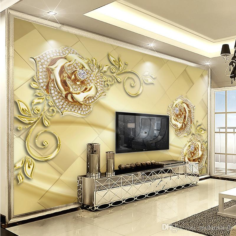 Wall Mural 3d European Style Marble Diamond Jewelry Flower High Quality Non Woven Large Painting Living Room Mural Wallpaper Celebrities Wallpapers