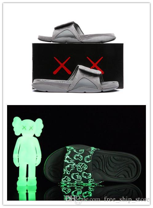 4S جديد الجملة اكس هيدرو 4 بارد رمادي النعال الصنادل IV الشرائح أحذية كرة السلة أحذية رياضية يتوهج في الظلام حجم 7-12