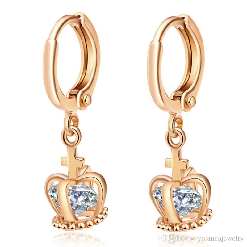 New Arrival 18K Gold Plated Round Crystal Earrings Stud Clear Inlay Cubic Zircon Crown Earring for Women foe Bride