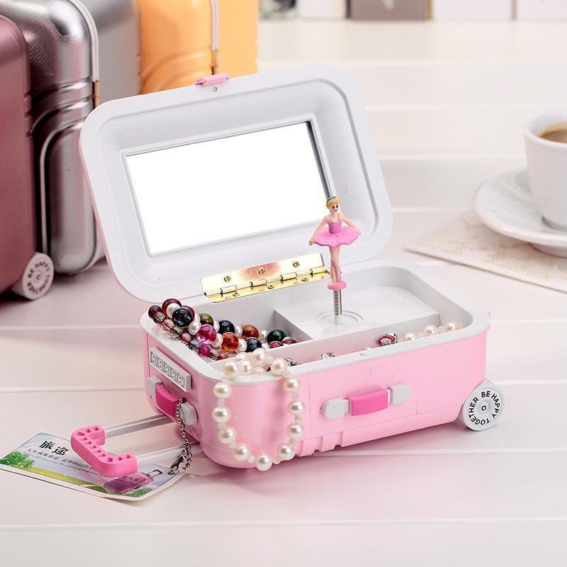 Tirare asta valigia music box rotante ragazza di danza regalo di compleanno scatola di gioielli studente regalo artigianato