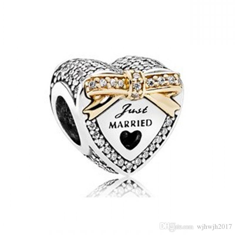 Wedding Heart Charms Beads For Jewelry Making Authentic 925 Sterling Silver Pave Clear Crystal Two Tone Bead DIY Brand Bracelets Accessories