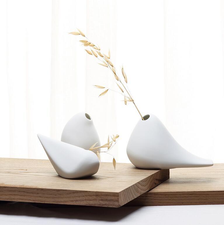 (3 teile / los) Moderne Vogel Form Keramik Vase für Home Decor Tabletop Vase weißen farben