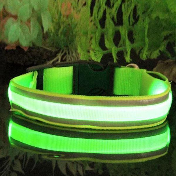 Safety Night Pets Dogs Lighted up LED Collar Striped Mesh Nylon Collar S M L XL Free Shipping