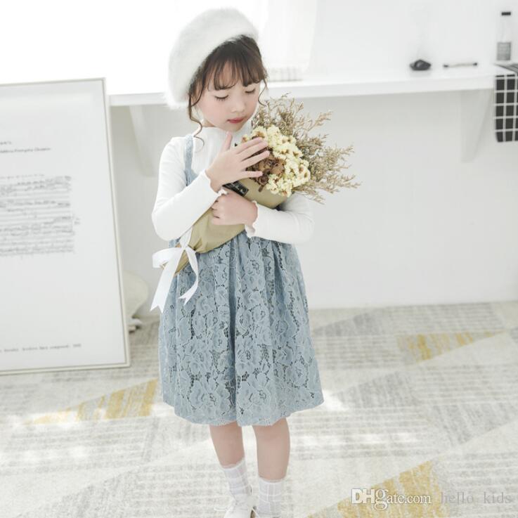 2017 어린이 정장 가을 새로운 여자 단색 긴 소매 티셔츠 + 레이스 슬링 드레스 2 개 세트 아기 아이 의류 2 컬러