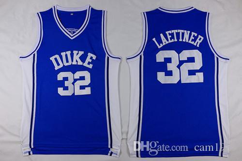 2020 # 32 Christian Laettner Erkek Formalar En kaliteli Boyutu S-XXL Erkekler Spor Jersey Mavi