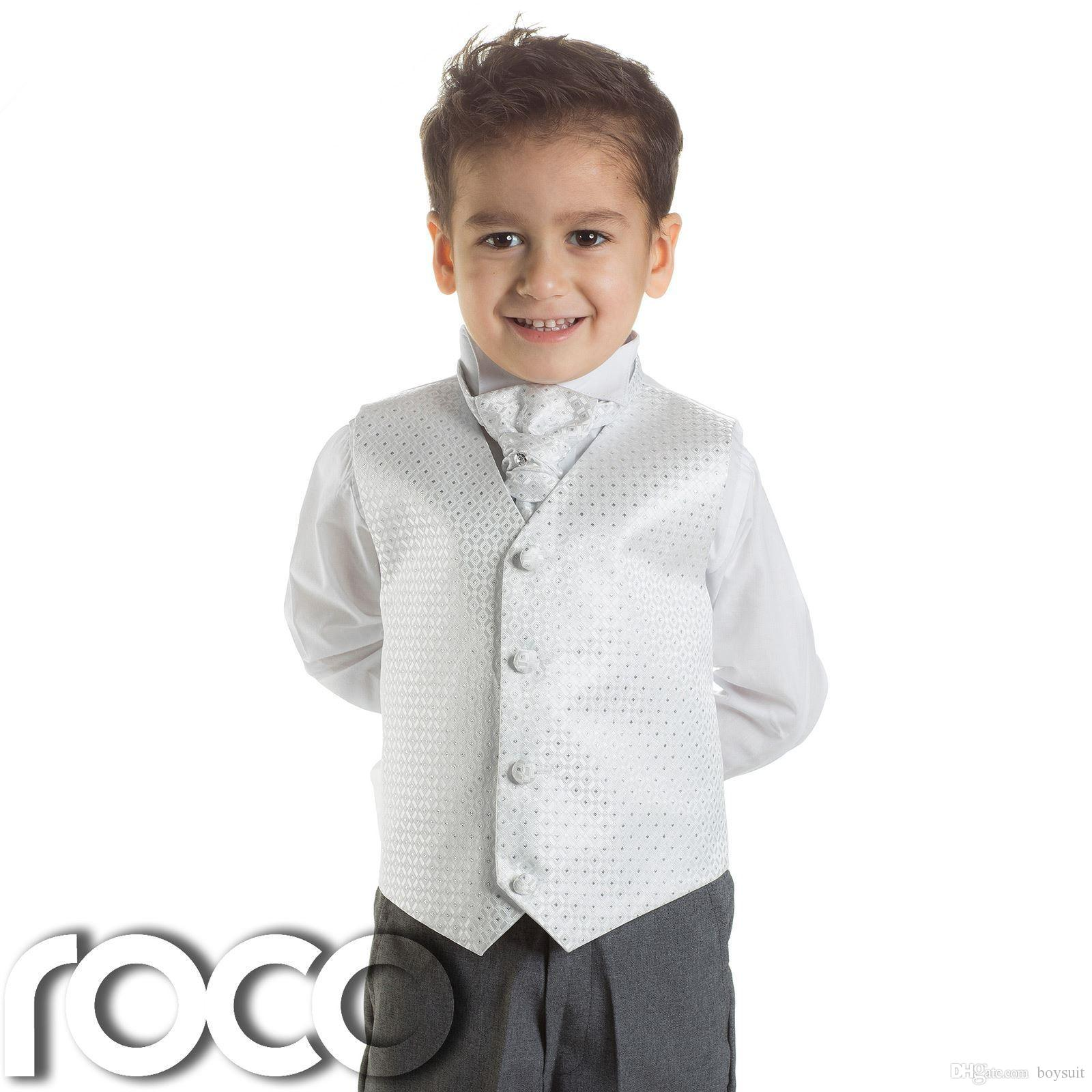 Baby Boys White & Grey Waistcoat Suit, Page boy Suits, Boys Wedding ...