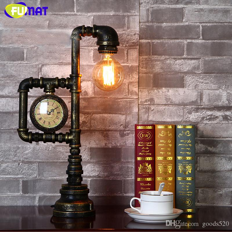 FUMAT Table Lamps Industrial Retro Water Pipe Table Lamp Creative Loft Edison Desk Lamp for Study Bedroom Table Light Luminaire