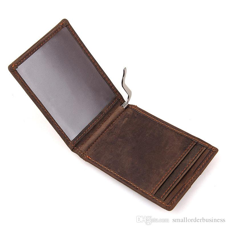 money clip wallet RFID brown color casual simple design genuine leather men wallet MOQ 1 PCS Dropshipping