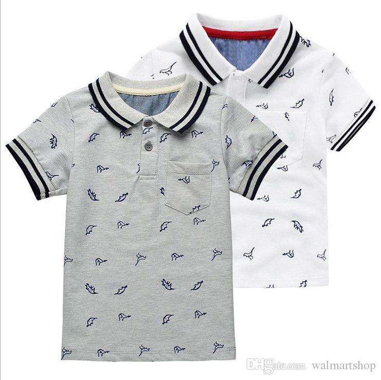 2018 Девушки ткань мода детские отворотом футболки животных печати детские пальто динозавр мода Детские рубашки kid212