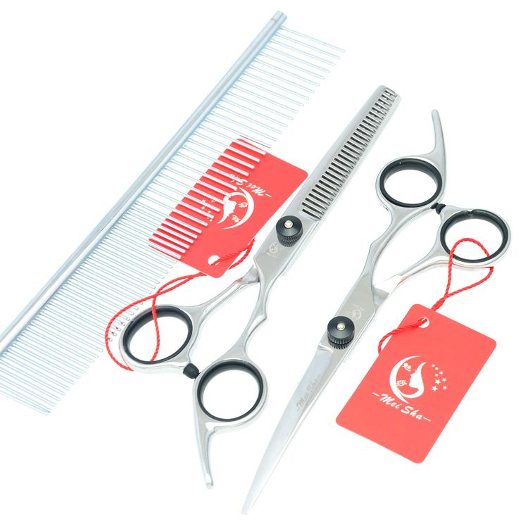 6.0Inch Meisha Hair Cutting & Thinning & Curved Dog Shears Professional Pet Grooming Scissors Set with Case JP440C Pet Scissors,HB0022