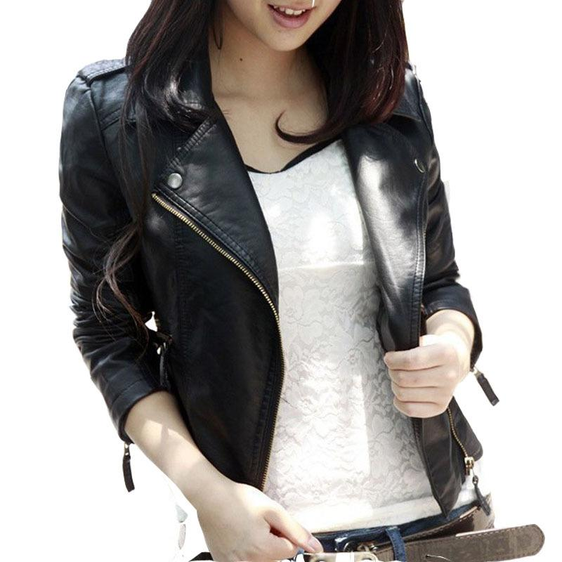Wholesale- New Spring Autumn 2016 Women Jacket Black Fashion Slim S-3XL PU Leather Motorcycle Short Outwear Jaqueta Feminina Damen Jacket