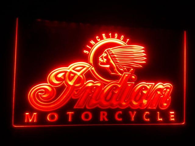 b158 Indian Motorcycle Services Logo البيرة بار حانة نيون لايت تسجيل