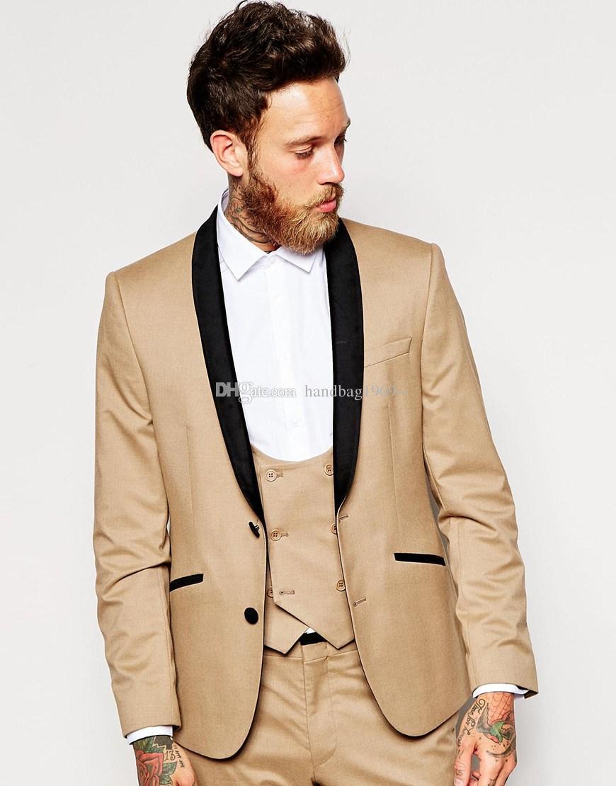 Os recém-chegados dois botões do noivo smoking xale lapela groomsmen melhor homem se adapte ternos de casamento dos homens (jaqueta + calça + colete + gravata) H: 487