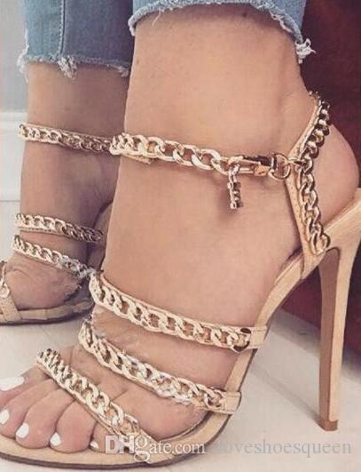 2017 chaînes d'été décorées lanières sandales à talons aiguilles minces talons hauts femmes gladiateur sandales tenue décontractée / robe sandale 35-42
