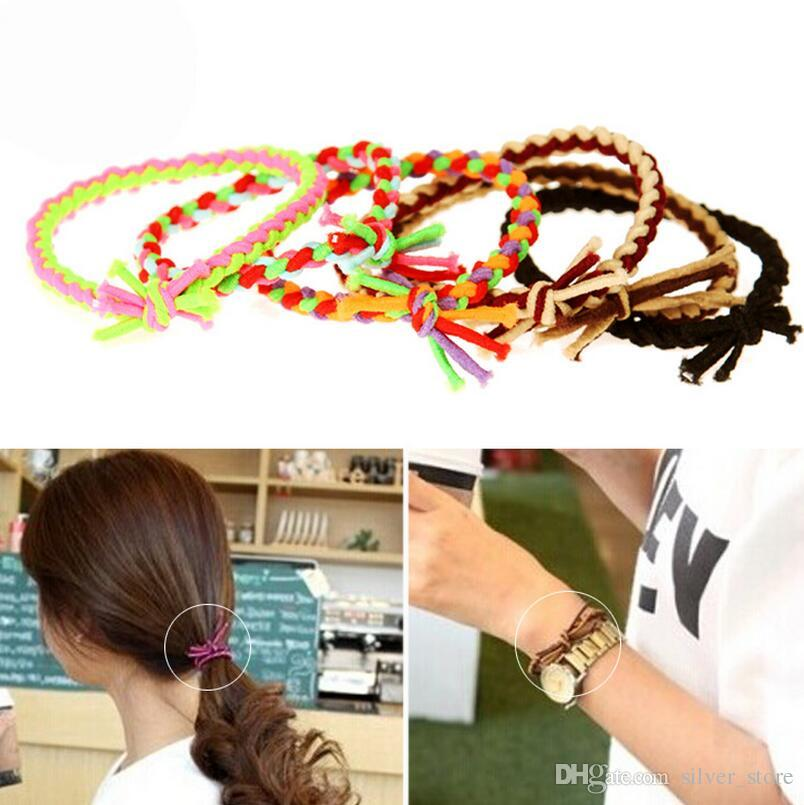 High quality Hit the color weaving braids hair rope high elastic personality tied knot hair circle FQ043 mix order 100 pieces a lot