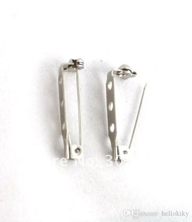 300 stks 3-holes broche pin back bar bevindingen 28x5mm # 20440