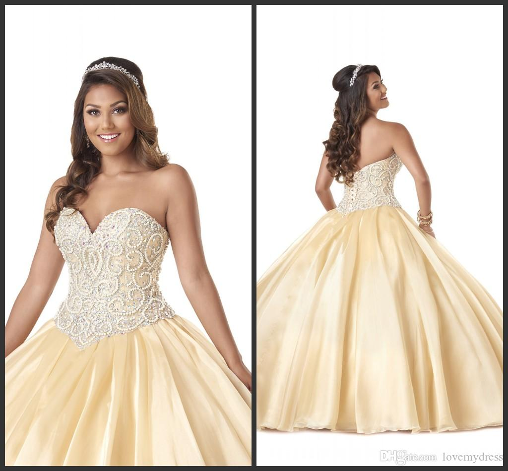 Cheap Quinceanera Dress Inexpensive Pearl Crystals Sparked Dresses ...