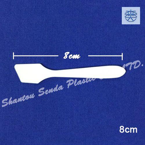 Wholesale- 100pcs/lot free shipping plastic cosmetic tool,flat cream spoon,mini scoop,80mm PP cosmetic spatulas