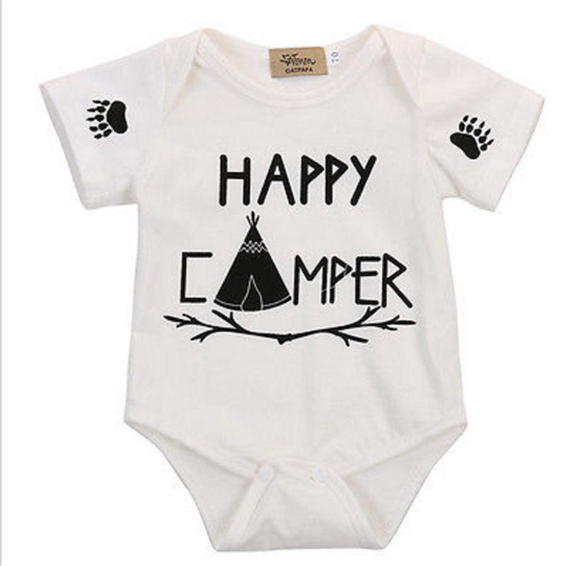 Happy Camper Newborn Infant Baby Summer Sleeveless Bodysuit Romper Jumpsuits Playsuit