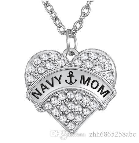 10pcs / lot freier Kristallherz-hängender Charme mit Wort-Marine-Mamma-Gliederketten-Halskette für Geschenke der Frauen