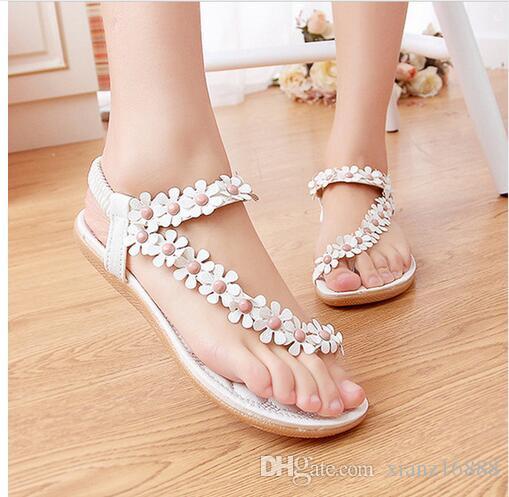 زهرة المرأة صنادل أزياء المرأة صنادل الصيف شقة أحذية السيدات Sandals36-41