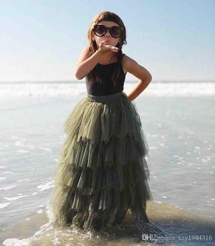 9b1004b4 ... Moda con gradas faldas largas para las niñas libremente estirado cintura  banda elástica cinco capas falda