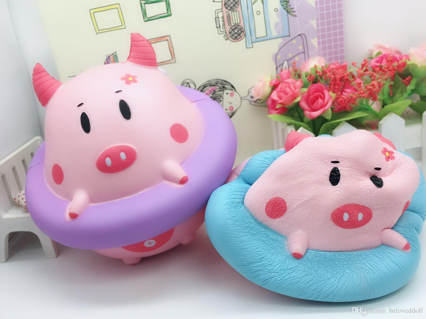 16*16CM Jumbo kawaii Squishy Slow Rising Swimming ring pig Kid Toys Cute squishies Bread