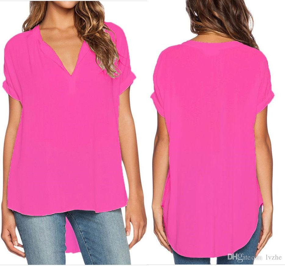 2017 New Sexy Womens Ladies Short Sleeve V-Neck Irregular Loose T-Shirt Tops Blouse Plus Size 7 Colors