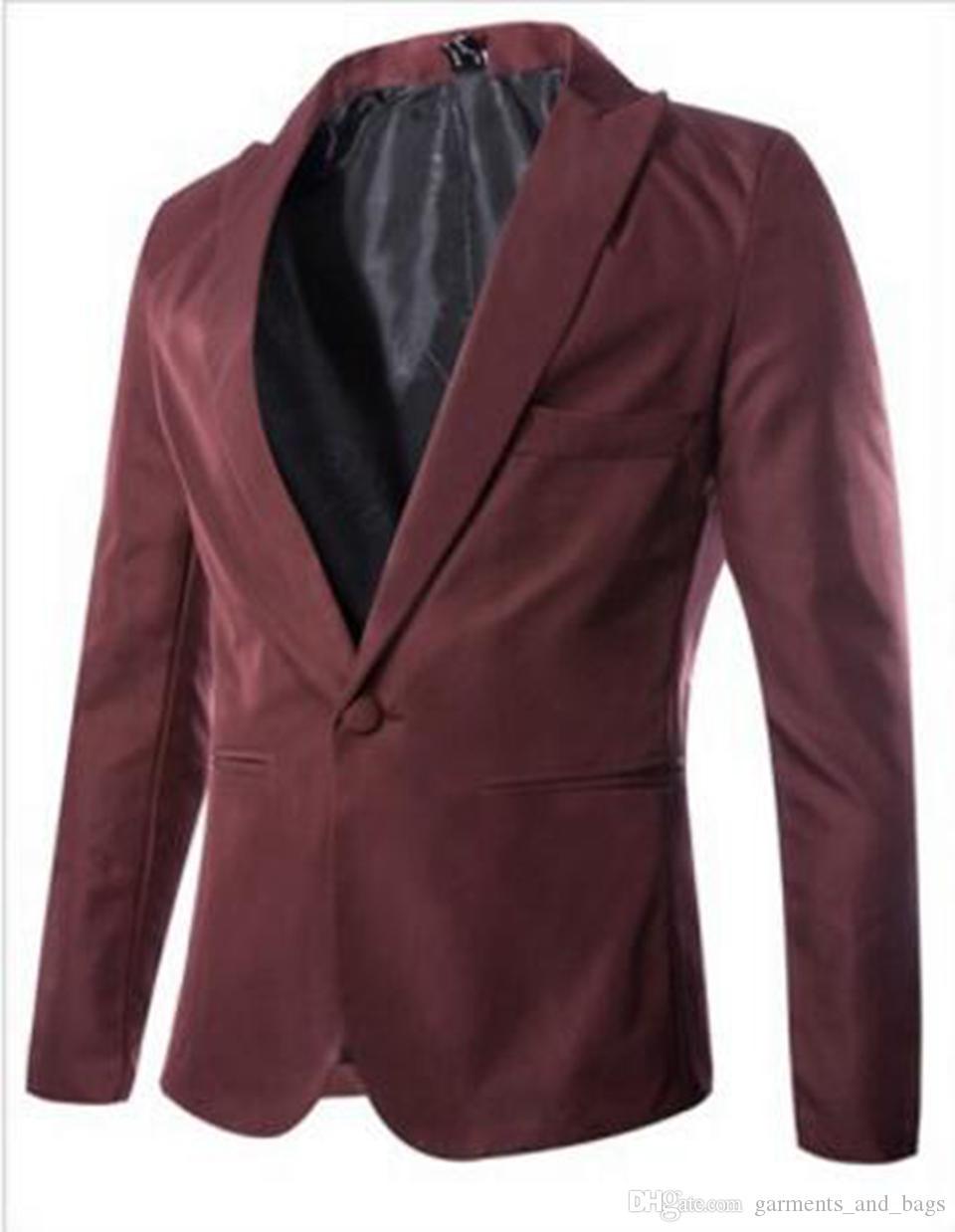 Sıcak yeni bahar moda Şeker Renk Şık Slim Fit erkek Takım Elbise Ceket Rahat Blazer Gece Kulübü kostümleri giyim / M-3XL