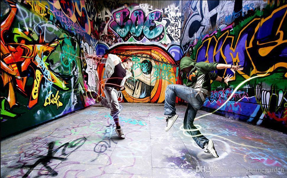 Dancing Young Street Dance Graffiti Background Wall Murals Mural