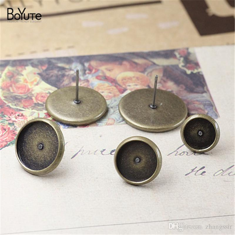 BoYuTe 100Pcs Round 8MM 10MM 12MM 14MM 16MM Cabochon Base Setting Antique Bronze Stud Earring Blank Tray Diy Jewelry Findings