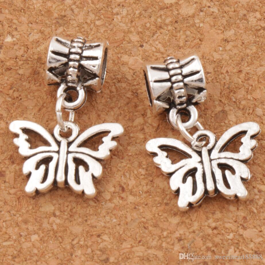 Öppen blomma papilio fjäril stora hål pärlor 100pcs / lot antik silver passform europeisk charm armband smycken diy b1108 15x30mm