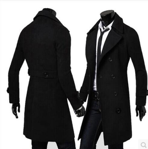 Черный серый хаки мода осень длинные пальто мужчины траншеи подростковой тонкий мужские куртки и пальто зимняя шерсть пальто мужчины мужские пальто