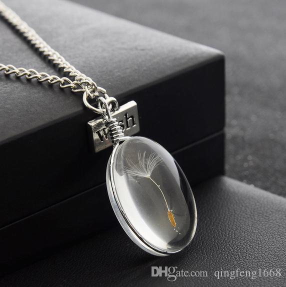 Großhandel Handgemachte kundenspezifische Löwenzahn-Kette Doppelhalsglas Halskette DDN001