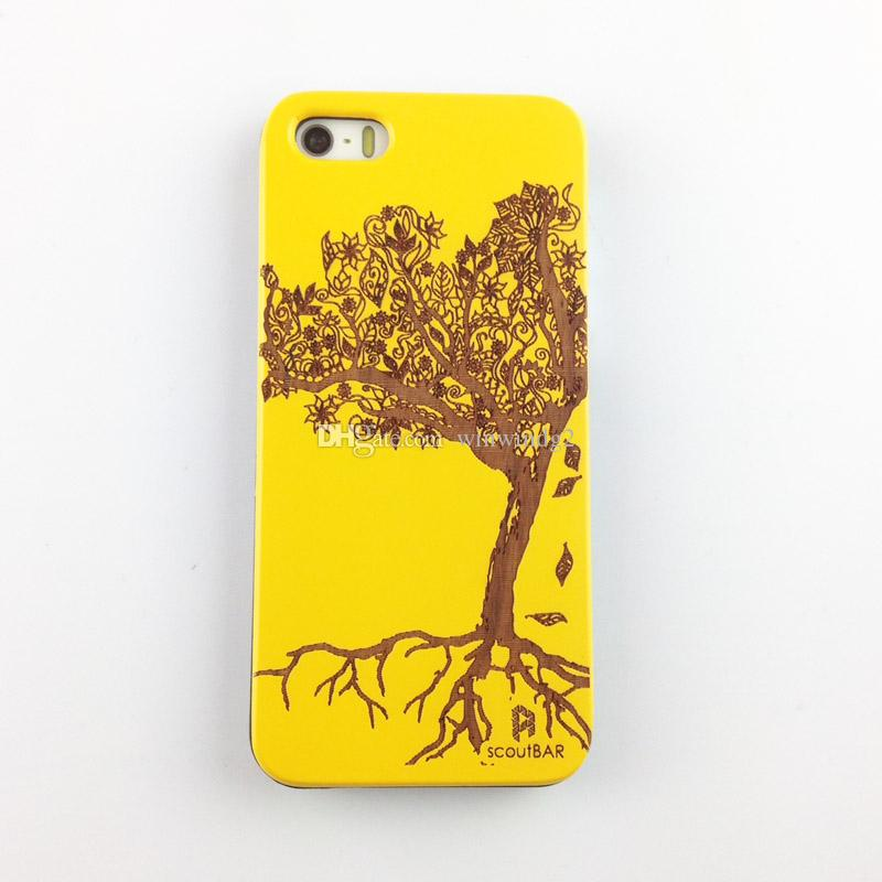 U&I On Sales Brand New real natural wood cell phone case with PC Laser Engraving phone cover case for Apple IPhone