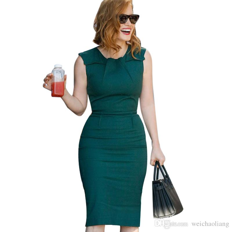 New Desi Womens Celebrity Elegant Vintage Ruched Pinup Wear To Work Office Business Casual Party Fitted Bodycon Pencil Dress