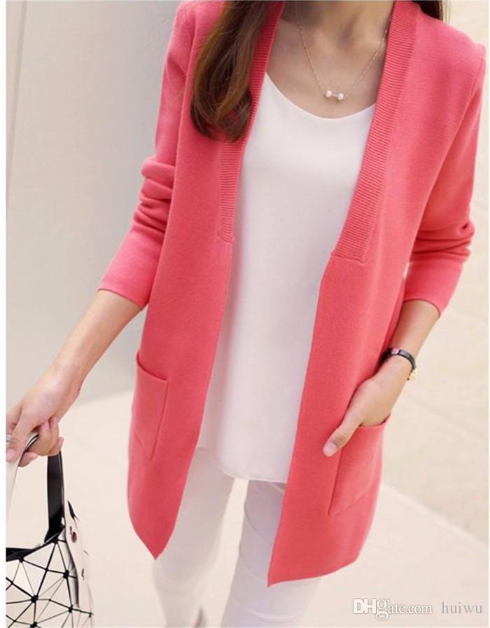 جديد إمرأة الربيع / الخريف سترة 2017 سترة طويلة الكورية سليم جيب فضفاض متماسكة سترة أبلى معطف